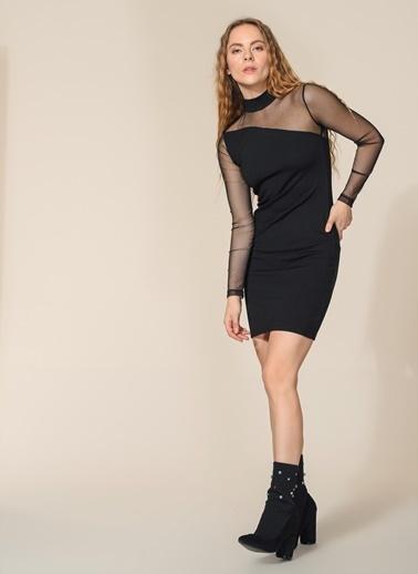 Agenda Tül Detaylı Mini Elbise Siyah
